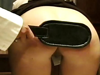 Schoolgirl with soft ass paddled