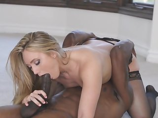 Blonde maid devours a huge black cock in hardcore