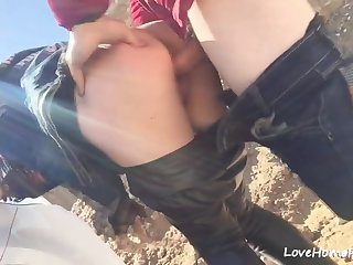 Horny teen in sunglasses getting fucked from behind in the mountains