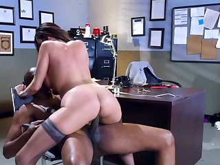 Without showing no mercy for her lovely holes, this black dude starts using his black gun for a few rounds of hardcore sex with Ariella Ferrera,