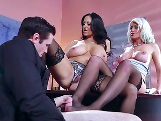 Hot male is in for a quick office threesome fuck with two outstanding milfs, Ava Addams and Riley Jenner, babes addicted to cock