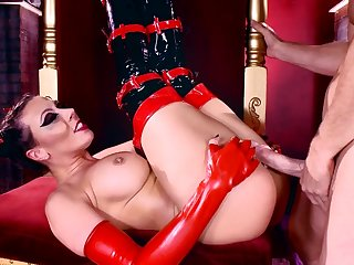 Naked Rachel Starr shows off in her latex stockings, enduring a long cock in various scenes while moaning and pinching the big tits like a whore
