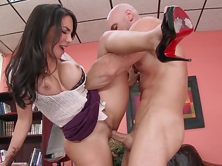 Time for busty milf to have her cramped cherry enlarged by horny boss in need to see her swallow his load