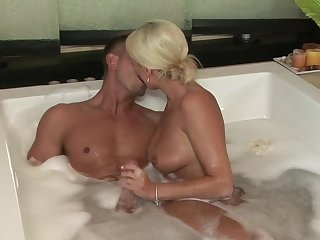Sexy blonde with natural boobies Diana Doll is deepthroating hard pole of Bill Bailey and swallowing