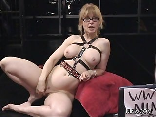 Slender big-tit milf with shaved pussy and nice toys is penetrating her young gf's pussy