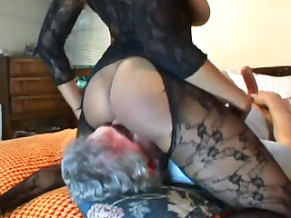 Cute ebony with nice big boobies and bodystocking is sitting on the face