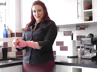 Chubby British housewife fooling around in her kitchen