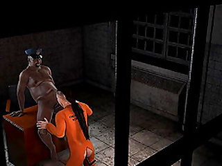 3D cartoon prisoner gets fucked in the ass by a fat ebony cop
