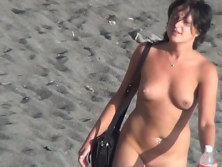 Vulgar clip with impressive arousing babe that is sitting in front the sea naked