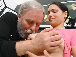 Handsome bombshell brunette Diana with exactly remarkable face gets nailed by old man