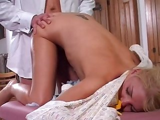 Hardcore skinny blonde with small boobies and tattoos fucks in her asshole with pleasure