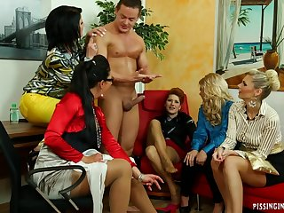 The group pissing video is more exciting because they're all dressed in such fancy clothes.