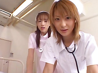 Naho Ozawa and another slutty nurse get fucked by a horny patient