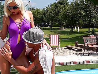 Being by the pool makes clothed ladies horny and dripping wet