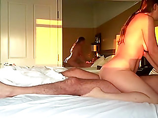 Excited couple fucks in hotel room