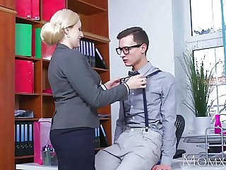 MOM Blonde big tits Milf sucks massive geek cock