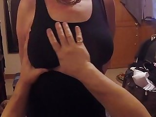 Cougar's BIG Boobs getting GROPED in a tight black dress