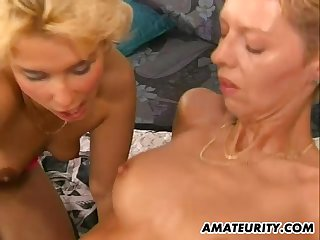 Two blonde chicks sharing the cock on the comfortable bed