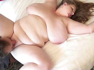 Alluring fat babe can't wait for her face to be decorated with cum