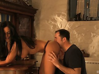 Horny policeman and a big titty beauty fuck in her hotel room