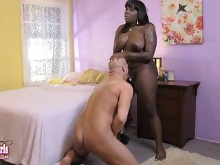 Ebony tranny gets blown by a white guy then fucks him hard