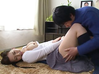 Asian titties bounce as the horny guy fucks her doggystyle