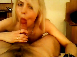 Blonde hottie gets fucked by boyfriend after giving him a blowjob