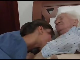 young give handjob to very old
