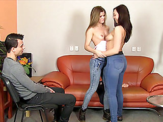 Two cute babes take off their jeans for a shag with a fellow