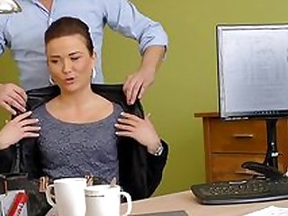 Gorgeous female gets seduced and fucked in the office