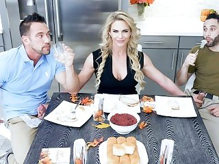 FamilyStrokes - Hot Milf Phoenix Marie Fucks Father & Son For Thanksgiving