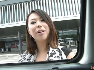 Huge tits Asian whore fucked hardcore in the van