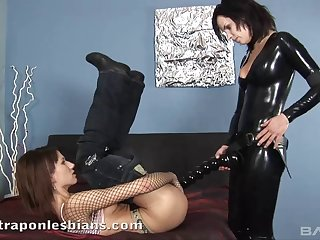 Leather adventures spiced up with the lesbian anal poking