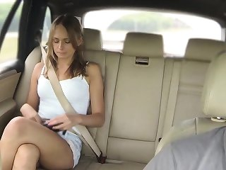 Blond passenger drilled in the backseat for a free fare