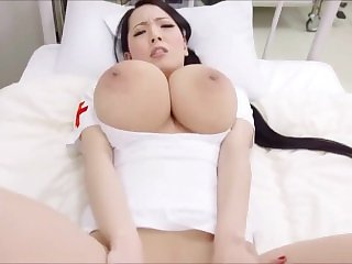 Japanese nurse Hitomi Tanaka shows her natural boobs