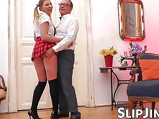 Mature British sir stuffs hot schoolgirl with dick and jism