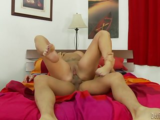 Thick tattooed milf gets fucked by an Asian dude