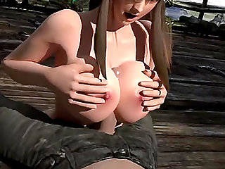 Perfect tits and face babe enjoy giving excellent titjob to favorite players