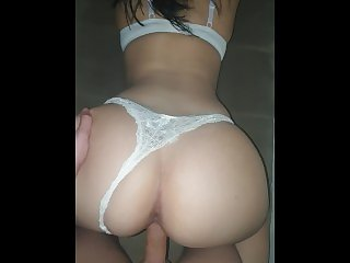 Perfect ass in white thong pounding hard POV
