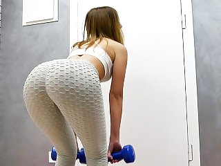 My Fitness Trainer Rubbing Pussy&Cumming in My Yoga Pants and Pull Them Up
