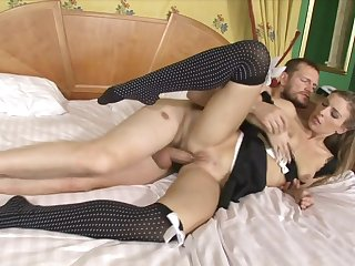 Pretty maid takes a massive cock in her ass