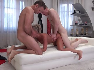 Tanned blonde slut double teamed by horny guys