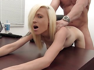 Skinny slut fucked and ass fingered in her porn audition