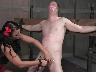 Being abused by mistress makes his cock hard