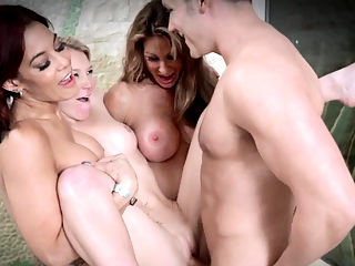 Three stepmoms suck cock