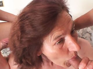 Young boys bang nude old lady from both sides