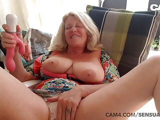Big tits grandma toying