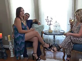 Hot wives swapping partners and giving blowjobs in amateur homemade swing video
