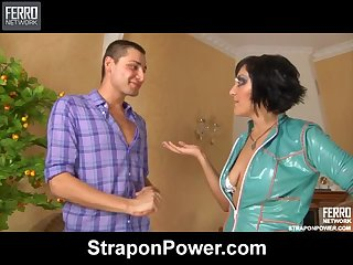 Jessica Dominates her man with a Strapon