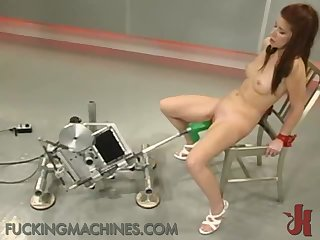 Lovely Brunette Gets Her First Ride in A Fucking Machine